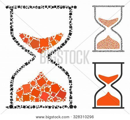 Hourglass Mosaic Of Tuberous Pieces In Variable Sizes And Shades, Based On Hourglass Icon. Vector Tu