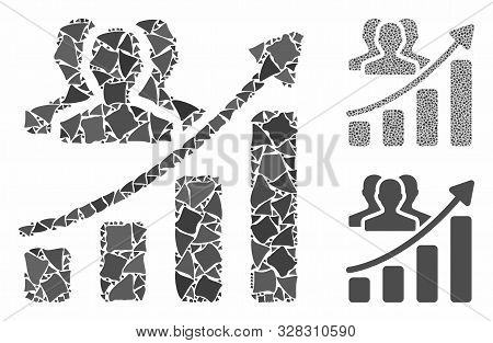 Audience growth chart composition of unequal items in different sizes and color tones, based on audience growth chart icon. Vector joggly items are composed into composition. poster