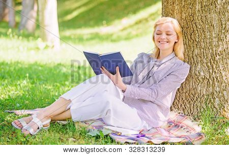 Business Lady Find Minute To Read Book Improve Her Knowledge. Self Improvement And Education Concept