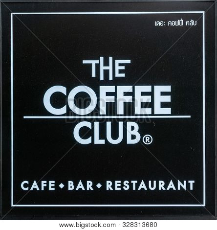 Bangkok City, Thailand - March 17, 2019: White On Black Sign And Logo Of The Coffee Club, A Restaura