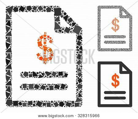 Invoice Mosaic Of Abrupt Items In Various Sizes And Color Tones, Based On Invoice Icon. Vector Tremb