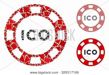 Ico Token Composition Of Inequal Items In Different Sizes And Color Hues, Based On Ico Token Icon. V