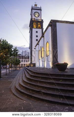 St. Sebastian Church At Dusk, Ponta Delgada, Sao Miguel Island, Azores