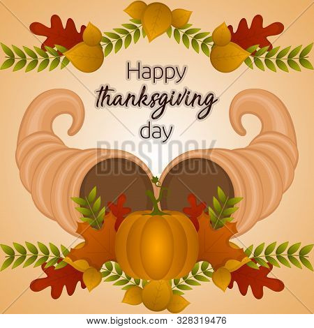 Happy Thanksgiving Day Card With A Cornucopia. Pumpkin And Leaves - Vector