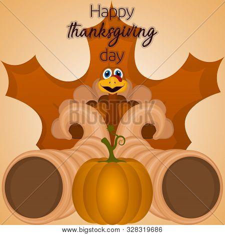 Happy Thanksgiving Day Card With A Turkey, Cornucopias, Pumpkin And Leaf - Vector