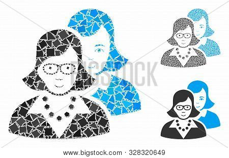 Clever Women Mosaic Of Raggy Pieces In Different Sizes And Color Hues, Based On Clever Women Icon. V