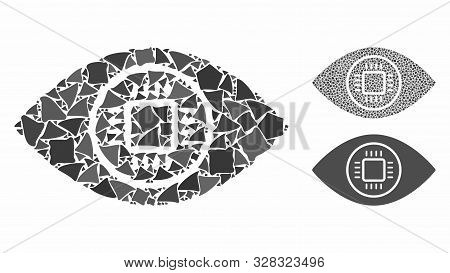 Cyborg Eye Mosaic Of Ragged Elements In Different Sizes And Shades, Based On Cyborg Eye Icon. Vector