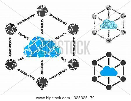 Cloud Links Composition Of Tuberous Parts In Different Sizes And Shades, Based On Cloud Links Icon.