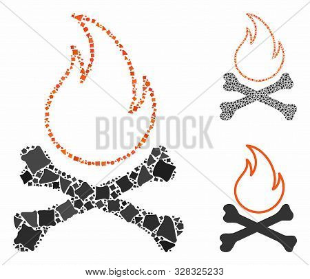 Bones Hell Fire Composition Of Trembly Elements In Various Sizes And Shades, Based On Bones Hell Fir