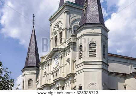 Tower And Facade Of Landmark Cathedral In New Orleans Louisiana