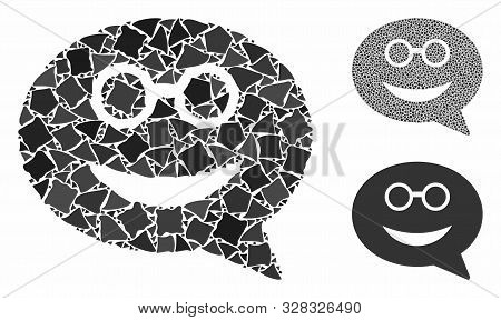Glasses Smiley Message Mosaic Of Bumpy Pieces In Different Sizes And Color Hues, Based On Glasses Sm