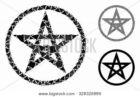 Star Pentacle Composition Of Rugged Parts In Various Sizes And Color Hues, Based On Star Pentacle Ic