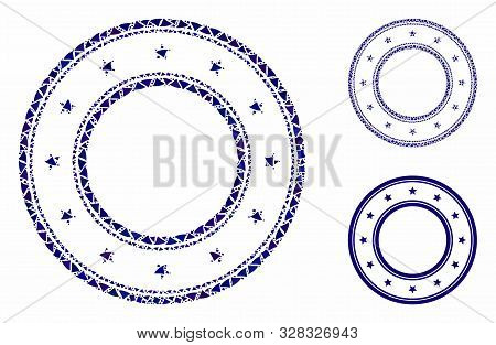 Double round starred frame mosaic of unequal items in various sizes and color hues, based on double round starred frame icon. Vector inequal items are grouped into illustration. poster