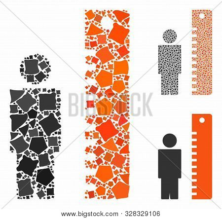 Height Meter Mosaic Of Tremulant Parts In Various Sizes And Color Tints, Based On Height Meter Icon.