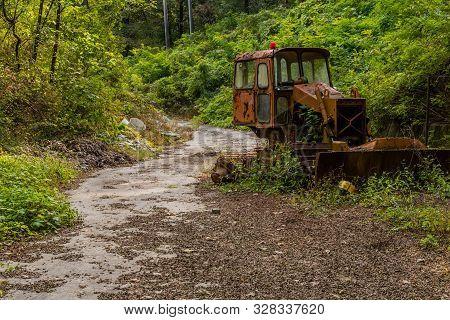 Old Rusted Broken Down Bulldozer