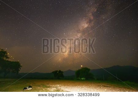 Landscape Of The Milky Way Galaxy With Starlight Over The Mountain With Tree.