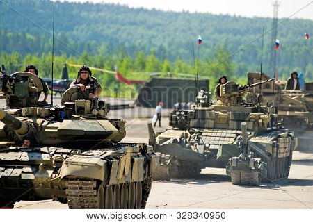 Nizhniy Tagil, Russia - July 12. 2008: Modernized Tank T-72, Bmr-3m Armoured Deminer And Guard Move