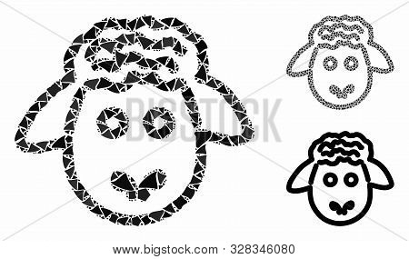 Sheep head mosaic of unequal elements in various sizes and color tones, based on sheep head icon. Vector unequal parts are grouped into illustration. Sheep head icons collage with dotted pattern. poster