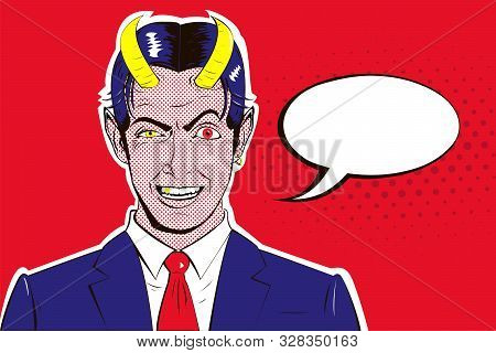 Vector pop art banner of a malevolent laughing devil businessman with horns with speech bubble. poster