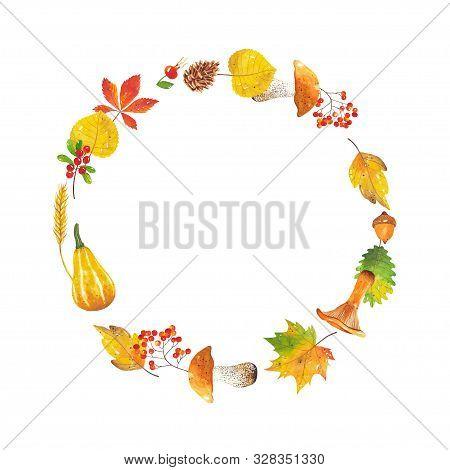Round Watercolor Frame Of Leaves, Mushrooms, Mountain Ash, Acorn, Pumpkin, Wheat, Cranberries, Rose