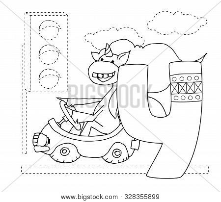 Letter Y And Funny Cartoon Unicorn. Animals Alphabet A-z. Coloring Page. Printable Worksheet. Handwr
