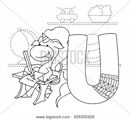 Letter U And Funny Cartoon Unicorn. Animals Alphabet A-z. Coloring Page. Printable Worksheet. Handwr