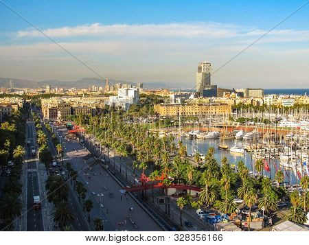 View Of Barcelona From A Height. Barcelona From A Height. City Panarama Of Barcelona. Center Of Barc