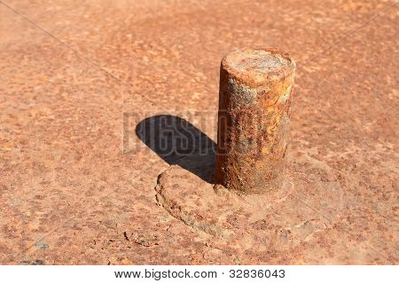 Rusty Pipe Welded To Platform