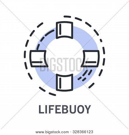 Cruise And Life Buoy, Marine Symbol, Life Saver, Isolated Linear Icon