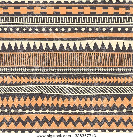 Seamless Ethnic Pattern. Horizontal Lines Drawn By Hand. Hand Drawn Ornament In The Style Of Doodle.