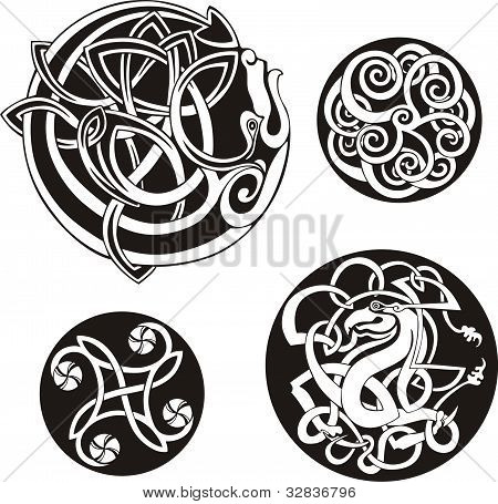 Round Celtic Knots. Ornamental Pattern Vector Set poster