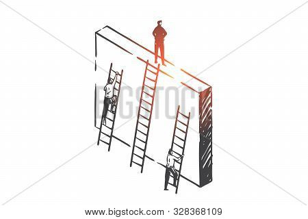 Competition And Success Achievement Concept Sketch. Business People Climbing Career Ladders, Profess