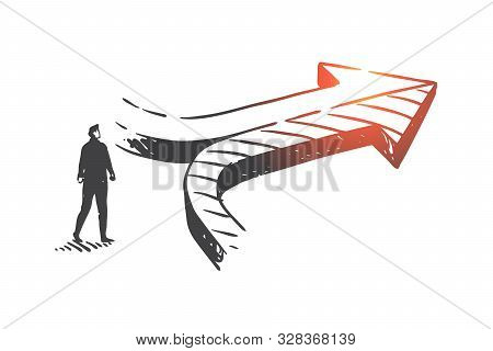 poster of Decision making, achieving results concept sketch. Businessman and converging arrows, company development opportunity, corporate growth strategy metaphor. Hand drawn isolated vector