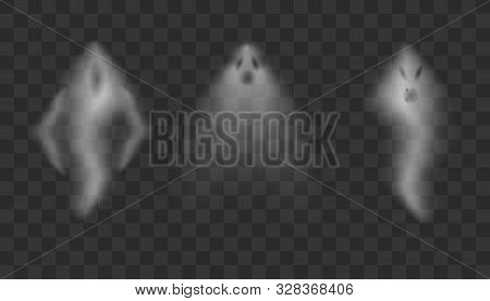Realistic Ghosts On Transparent Background.  Scary Halloween Apparition Face, Ghostly Phantom Fly Fi