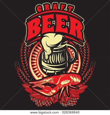 Color Vector Template For Pub Advertisement With Beer And Crayfish.