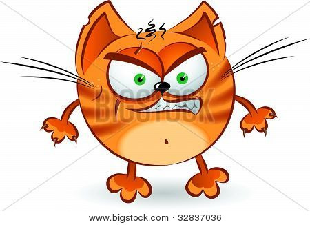 The angry orange cartoon cat. Illustration on white background poster