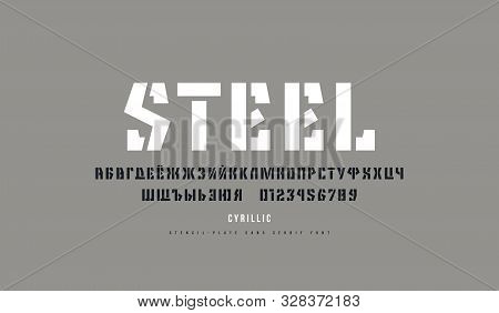 Cyrillic Stencil-plate Sans Serif Font. Letters And Numbers For Logo And Emblem Design