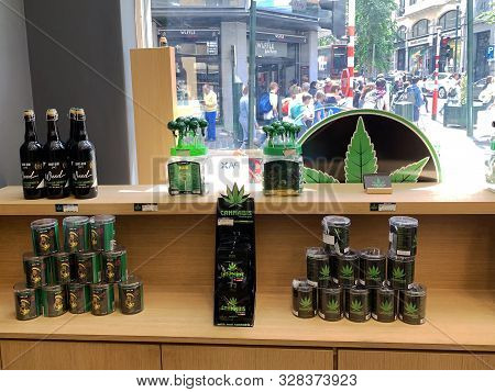 Brussels /belgium - July 9, 2019: Cannabis Shop Products In The Center Of Brussels. Weed Products In