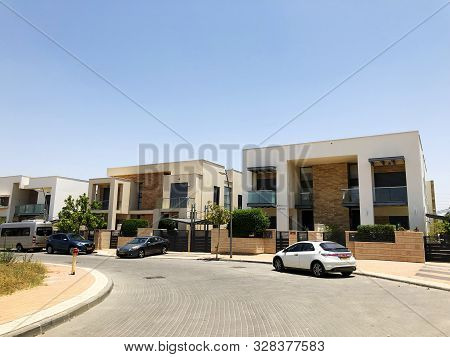 Rishon Le Zion, Israel  October 07, 2019: Modern Private Houses   In Rishon Le Zion, Israel.