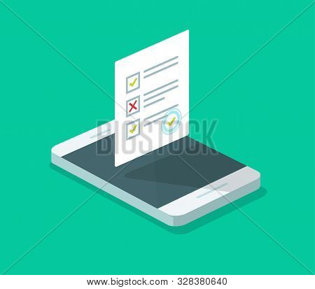 Online Form Survey On Cellphone Vector, Flat Isometric 3d Mobile Phone With Quiz Exam Sheet Document