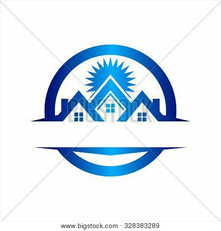 The House Icon Logo Is Blue And Isolated On A White Background,