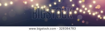 Vector Horizontal Banner With String Of Realistic Hanging Yellow Lights Garlands On Dark Blue Backgr