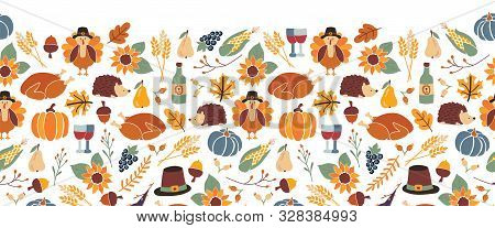 Thanksgiving Seamless Vector Border. Autumn Food Roast Turkey Corn Wine Pumpkin Family Dinner Greeti