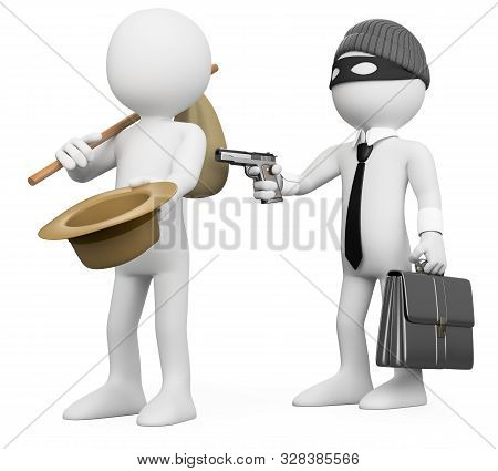 3d White People Illustration. Rich Man Robbing A Poor Man. Metaphor. Isolated White Background.