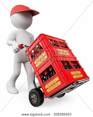 3d White People Illustration. Man Carrying Beer Crates. Isolated White Background.
