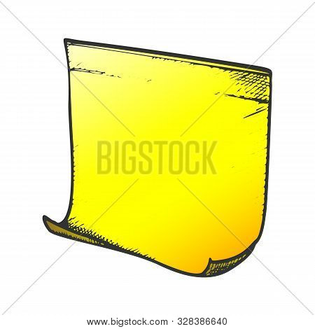Cardboard Paper Stationery Equipment Ink Vector. School Or Office Blank Paper. Note Page Or Noticebo