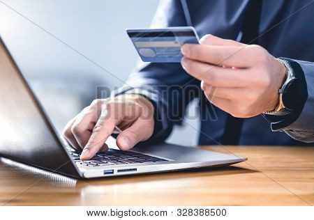 Safe Online Payment And Electronic Money Transfer Security. Pay With Digital Technology. Man Using C