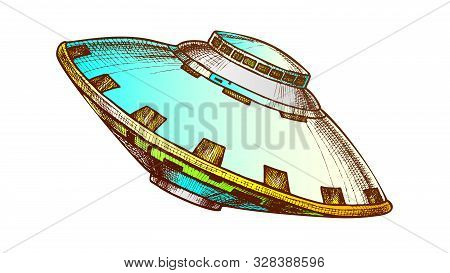 Ufo Unidentified Flying Object Color Vector. Ufo Mystery Alien Cosmic Spaceship Fantasy Technology.