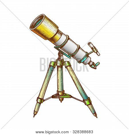 Astronomer Equipment Telescope Color Vector. Standing Telescope For Explore And Observe Galaxy And C