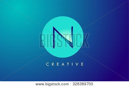 N Letter Logo Icon Design With Paper Cut Creative Look Vector Illustration In Blue Green Colors.